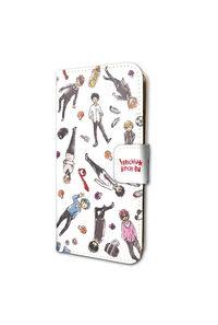 A3 手帳型スマホケース(iPhone6/6s/7兼用)「ヤリチン☆ビッチ部」01/ちりばめデザイン・ホワイト(グラフアートデザイン)